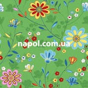 Зеленый детский ковролин Цветы 20