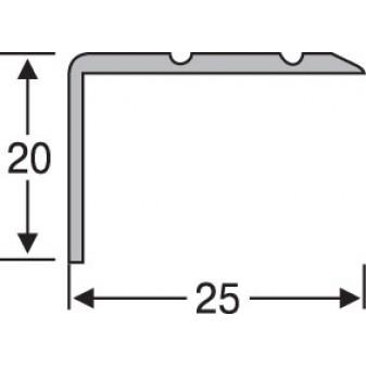 Пороги алюминиевые анодированные угловые рифленые 25х20