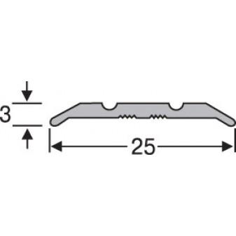 Порожки алюминиевые анодированные  рифленые 25х3