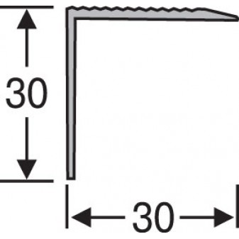 Пороги алюминиевые анодированные угловые рифленые 30х30