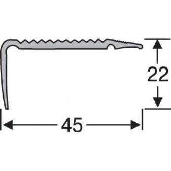 Пороги алюминиевые анодированные угловые рифленые 45х22